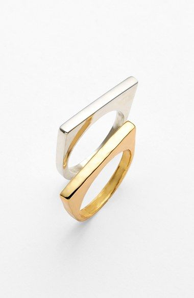 Free shipping and returns on Argento Vivo Straight Edge Rings (Set of 2) at Nordstrom.com. A squared-off edge lends modern geometry to a pair of polished two-tone rings.
