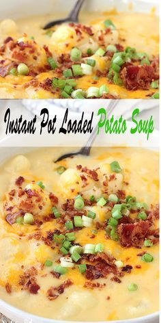 This Instant Pot Loaded Potato Soup is creamy, delicious, and tastes like you sl…