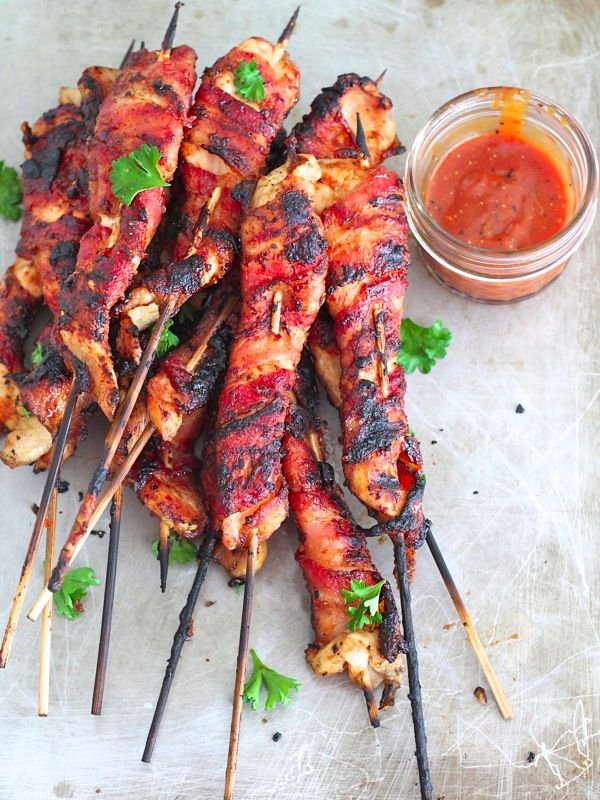 Bacon Wrapped Grilled Chicken Skewers