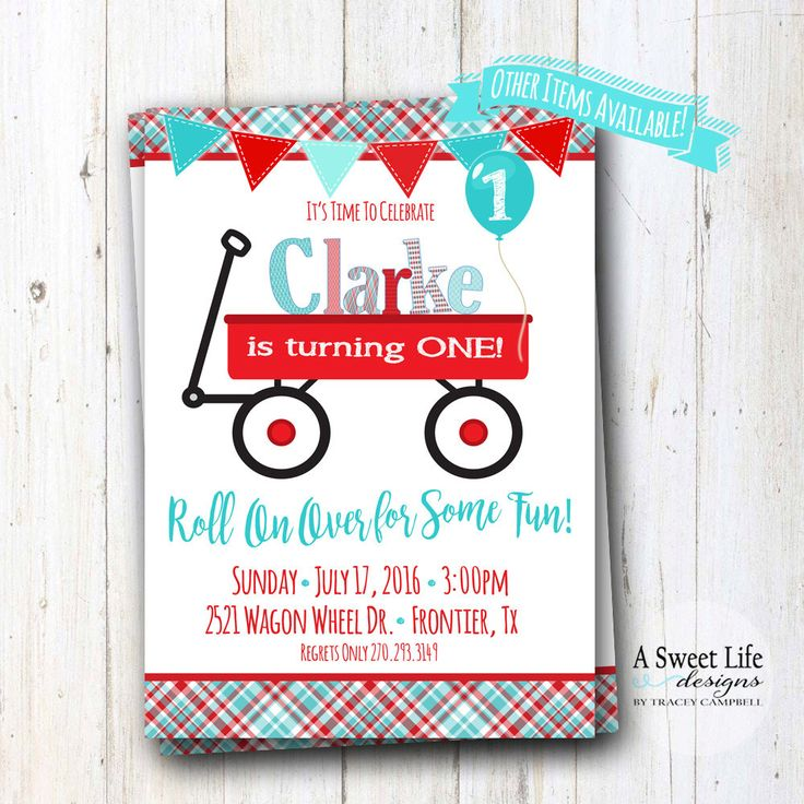 Little Red Wagon Birthday Party Invitation  - Red Wagon Party - Radio Flyer Baby Shower - Boy Birthday - Red Wagon Chalkboard - Bunting by ASweetLifeDesigns on Etsy https://www.etsy.com/listing/450085600/little-red-wagon-birthday-party
