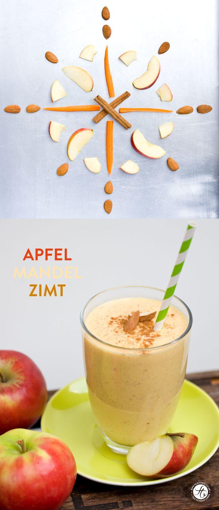 ☆ Apfel Mandel Zimt Smoothie - Statt Mandelmilch heißes Wasser und Mandeln. 2 TL Honig, mehr Zimt und etwas Nelkenpulver.  Mit vorgebackenen Äpfeln testen, um noch Apfelkuchen-ähnlicheren  Geschmack zu bekommen. - Nächstes Mal halbe Menge insgesamt machen