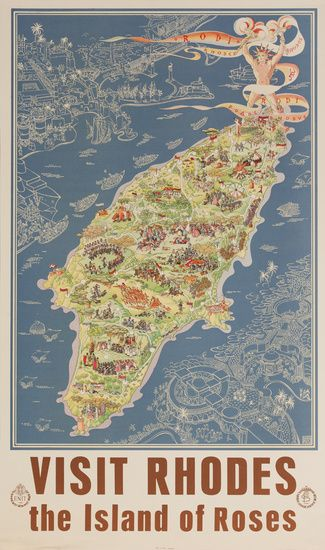DP Vintage Posters - Visit Rhodes the Island of Roses Original ENIT Travel Poster