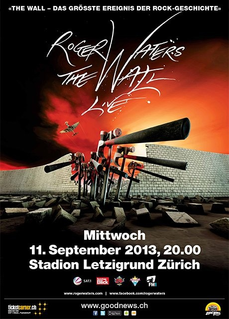 concert poster art: roger waters - the wall ¦ stadion letzigrund zürich [2013]