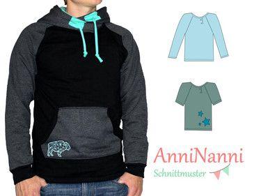"""Männershirt (ehemals """"Roli Raglan"""")   Gr XS - XXXL   T-Shirt,  Langarmshirt,  Kaputzenpulli,  diverse Taschen und diverse Versäuberungsarten.  von AnniNanni"""