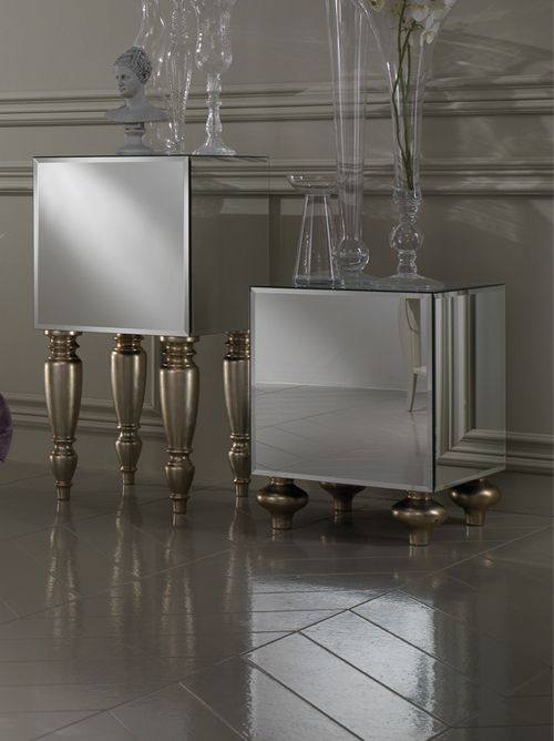 Hall :: Side tables :: Diva Collection mirrored cube - - Juliette's Interiors