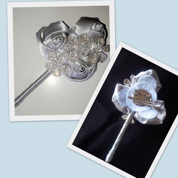 Satin Rose and Rhinestone Flower Buttonhole , AU$10.00