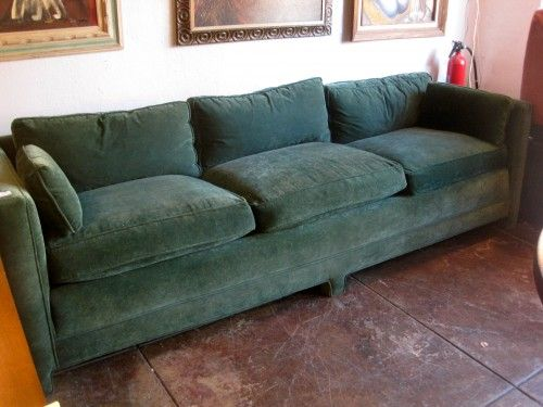Custom Made Green Sofa With Low And Long Squared Arm And Upholstered Legs,  Partial Down
