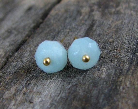 Natural amazonite stud earrings Genuine by ZalewskaJewerly on Etsy