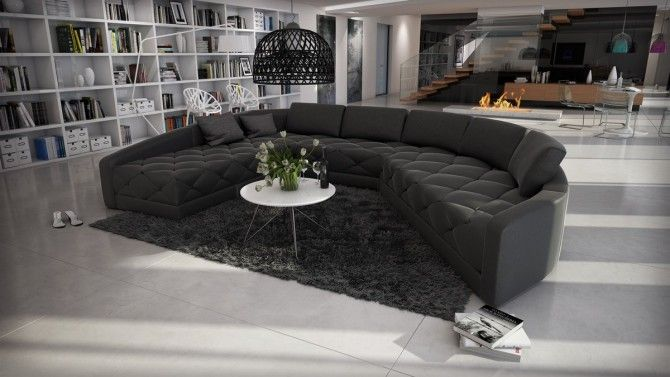 Canapé d'angle panoramique cuir avec capitons - Leyde