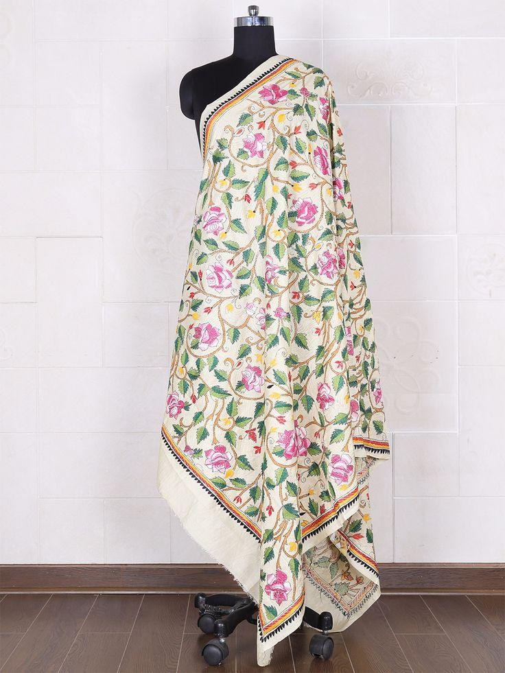 Cream Cotton Kantha Embroidery Dupatta