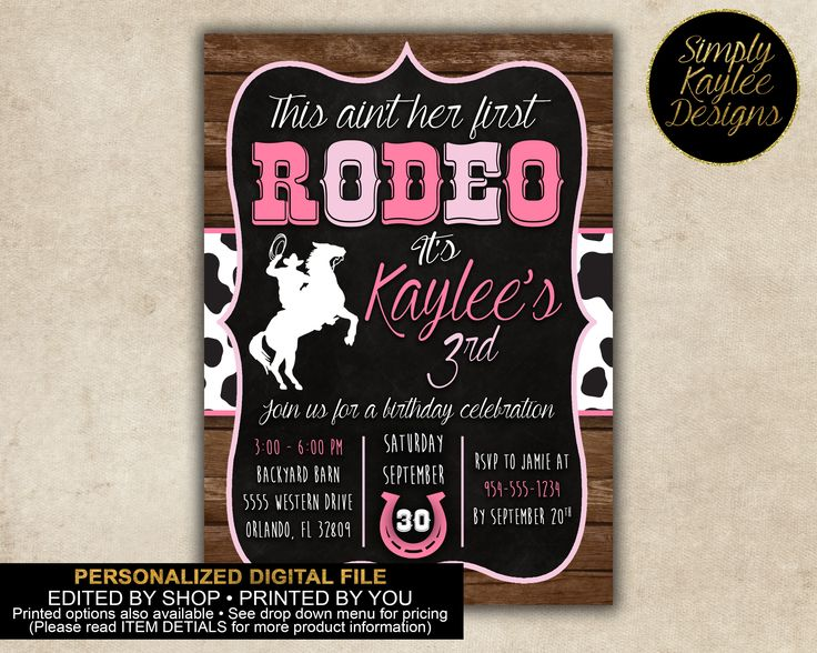 Rodeo Cowgirl Birthday Party Invitation by SimplyKayleeDesigns on Etsy https://www.etsy.com/listing/546304016/rodeo-cowgirl-birthday-party-invitation