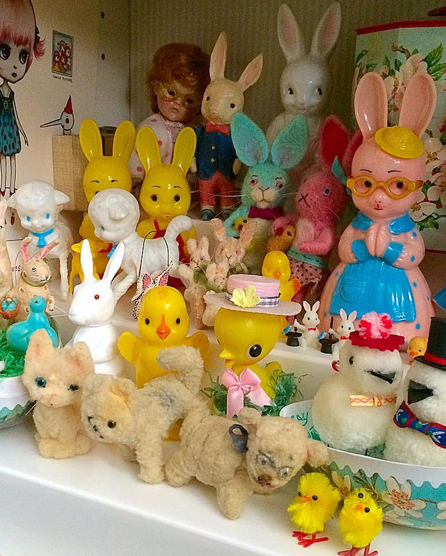 super kitch cramming vintage toys and retro dolls onto a shelf to show off your collection in kitsch decor more is often more Close up for Gnome Girl :) | Flickr - Photo Sharing!