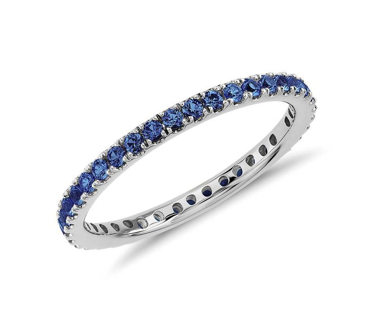 A Lovely Something Blue | Sapphire Eternity Ring in 18k White Gold #Wedding #Ring #Jewelry