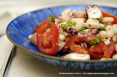 Il pesce fresco : insalata di polpo con fagioli riso bianco di Sarconi, perini e radicchio verde