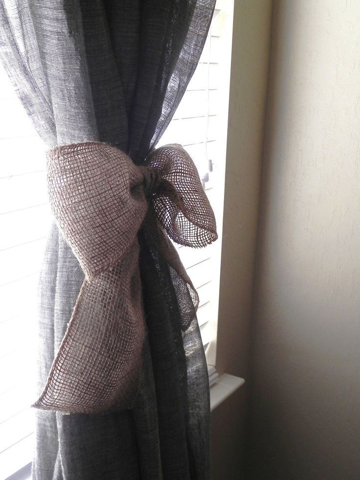 Burlap Bow SET OF 2 Curtain Tie Back Wedding Decoration Wreath Decoration. $16.50, via Etsy.