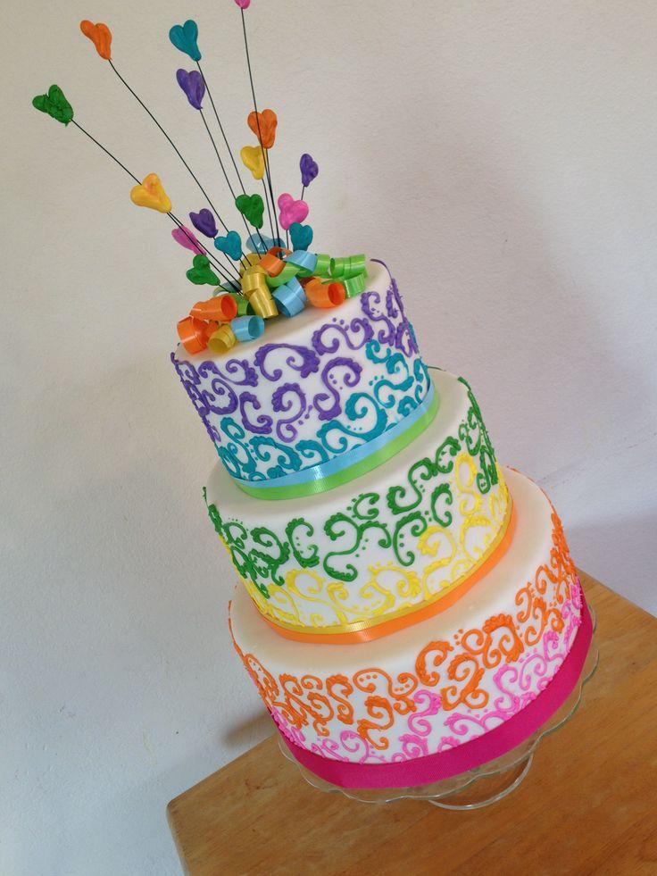 Rainbow swirls cake. Great for a wedding or a birthday!