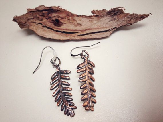 Bracken earrings fern earrings leaf earrings by Electroflora