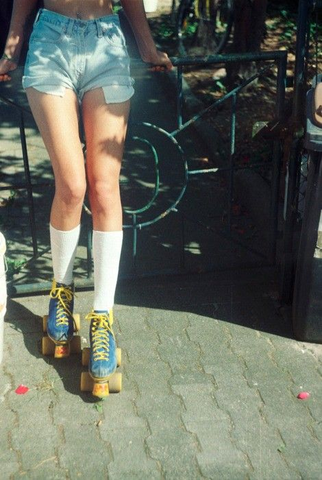 Seventies Street Style. Denim hot pants and roller-skates, shot in New York, 1970 http://www.maggiesemple.com/blog/