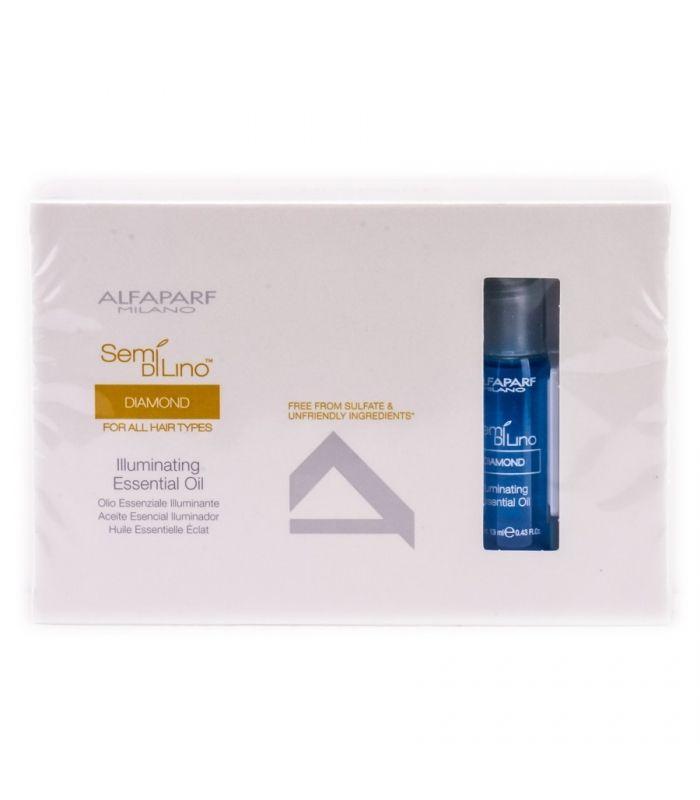 Miękkie, błyszczące i zdrowe włosy z olejkiem nawilżającym ALFAPARF Semi Di Lino Diamond Illuminating essential 12x13ml.