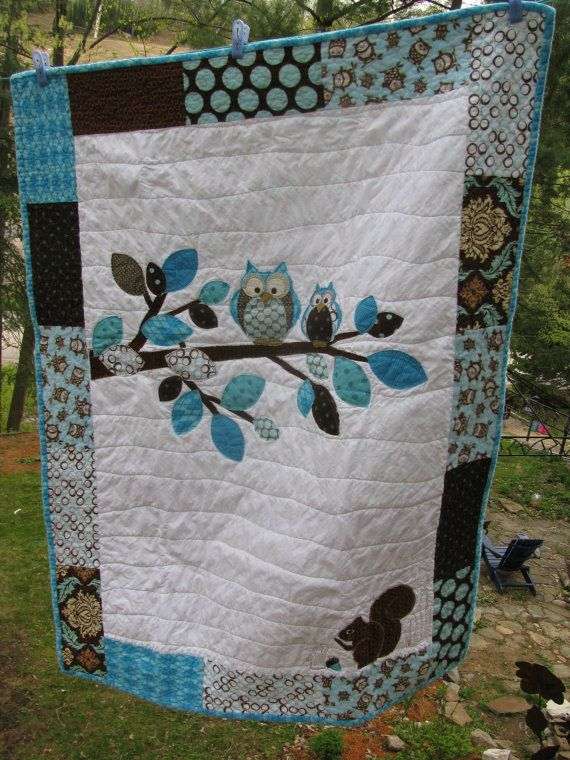 """""""Another one of my original Owl designed quilts....in a very popular baby boy's colour scheme with some Joel Dewberry and Riley Blake fabrics---It's entirely backed in Owl print flannel.  Look up Barabooboo on Etsy if you want to order a custom made one in YOUR colour scheme. I want to try this if I can find the pattern.."""""""
