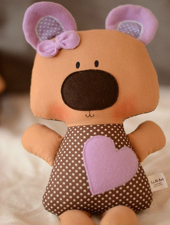 Stuffed Teddy Bear with Heart Plush teddy bear Stuffed by SenArt1