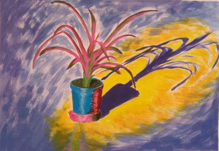 Acrílico sobre papel, colores complementarios