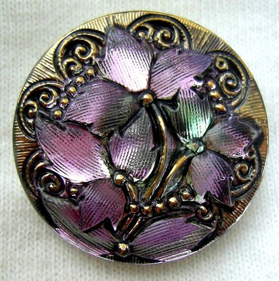 Czech Glass Button Lilac Lavender Mirror Back by ButtonOdyssey