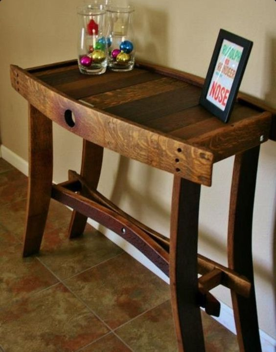 A table made from a wine barrel.