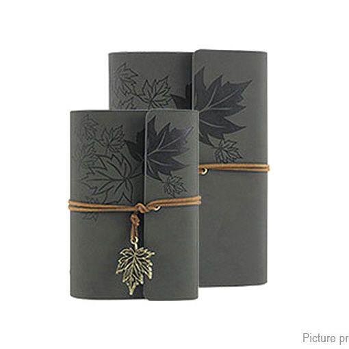 Embossed PU Leather Cover Leaf Pattern String Journal Blank Notebook Set #UnbrandedGeneric