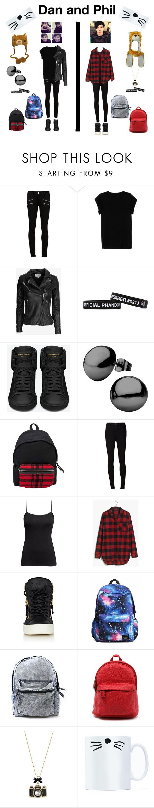 """DAN AND PHIL"" by plushierhino ❤ liked on Polyvore featuring Paige Denim, Isabel Marant, IRO, Yves Saint Laurent, AG Adriano Goldschmied, H&M, Madewell, Giuseppe Zanotti, Betsey Johnson and danisnotonfire"