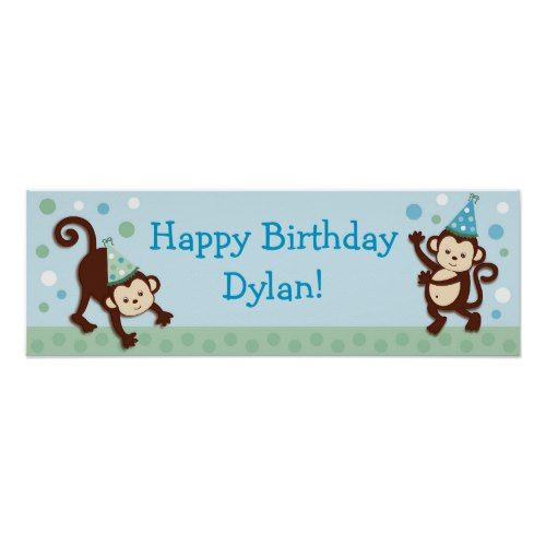 Party Monkey Personalized Birthday Banner Sign