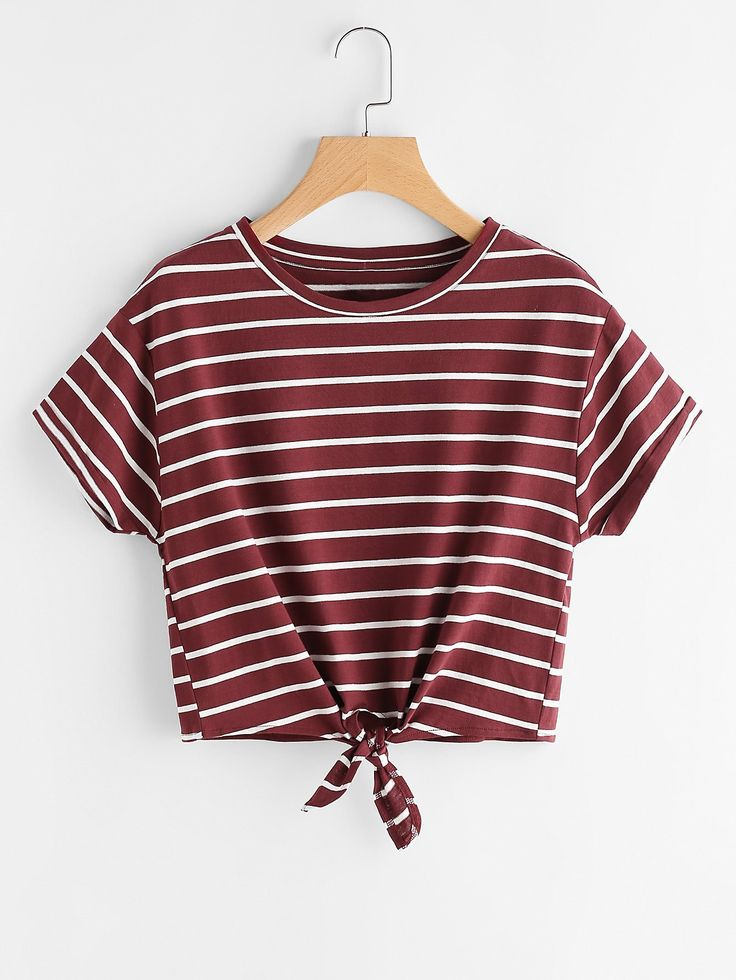 Striped Knot Front Tee BURGUNDY