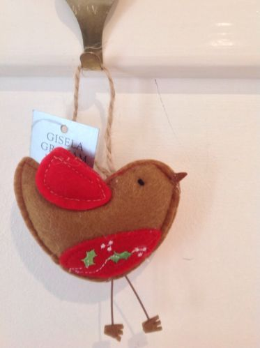 Gisela Graham Christmas Fabric Felt Robin Christmas Tree Decoration 6.5cm | eBay