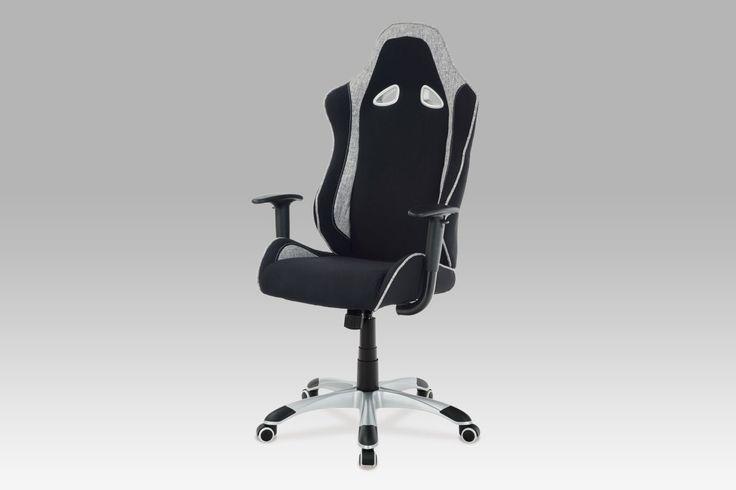 KA-E550 BK Kancelářská židle, látka černá/bílá, stříbrný kříž, houpací mechanismus.