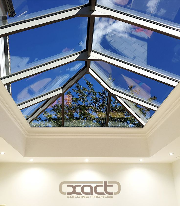 XACT Aluminium Roof Lantern interior view. Supplied and installed at property in Godalming. Traditional home extension with roof lantern.