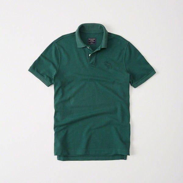 Abercrombie & Fitch Garment Dye Big Icon Polo (105 BRL) via Polyvore featuring men's fashion, men's clothing, men's shirts, men's polos, green, men's cotton polo shirts, men's collared shirts, mens green polo shirts, mens oversized shirt e mens cotton shirts