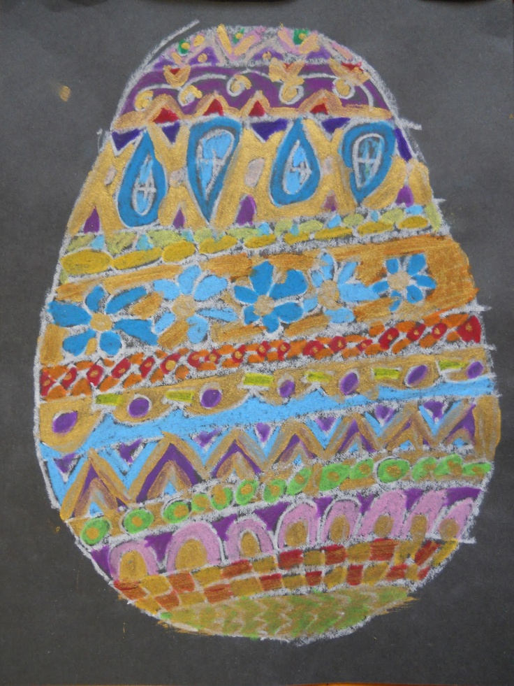 The Elementary Art Room!: Second Grade Art - Pysanky Eggs inspired by Rechenka's Eggs (pastel and paint)