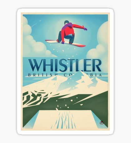 """Snowboard Booter"" Whistler, BC Travel Poster Sticker"