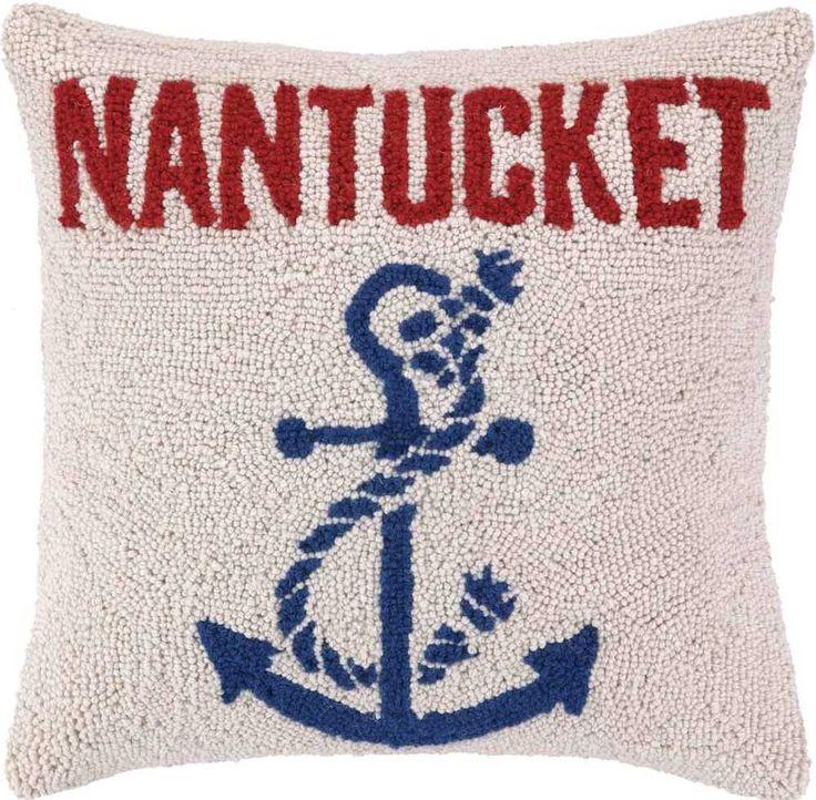 Anchored at Nantucket Hook Pillow: Beach House Decor, Coastal Decor, Nautical Decor, Coastal Living Boutique, Tropical Decor
