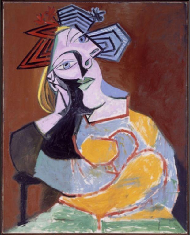 Pablo Picasso (Malaga 1881-Mougins 1973) Donna seduta appoggiata sui gomiti (Marie –Thérèse) 8 gennaio 1939, olio su tela, cm 92 x 73
