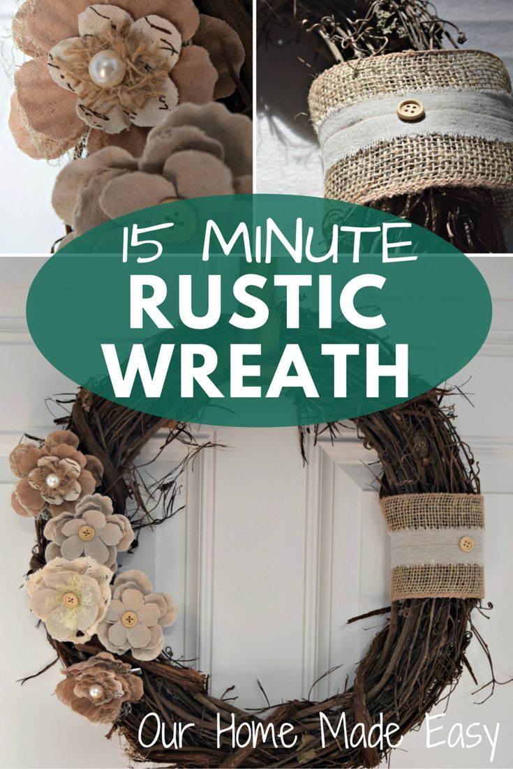 """This rustic wreath can be completed in less than 15 minutes. Sometimes you want to gather your materials, complete, and hang a DIY while the kids are napping. Who doesn't love instant gratification? First you'll need a few basic supplies: A Grapevine wreath, mine is 16"""" Burlap ribbon(s) Rustics Rosettes in varying textures Hot Glue …"""