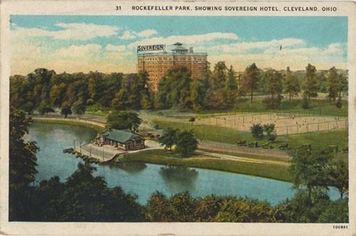 Rockefeller Park, Showing Sovereign Hotel, Cleveland, Ohio ca. 1929