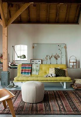 love the floor lamp...converted barn in holland via please sir
