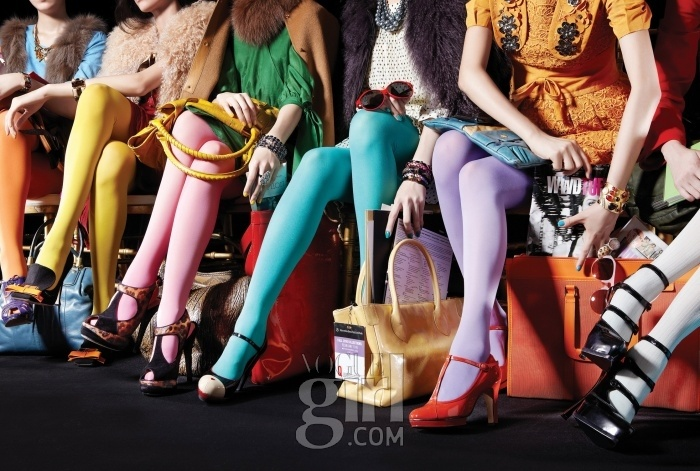 Amazing colorful tights in Vogue Girl Korea.