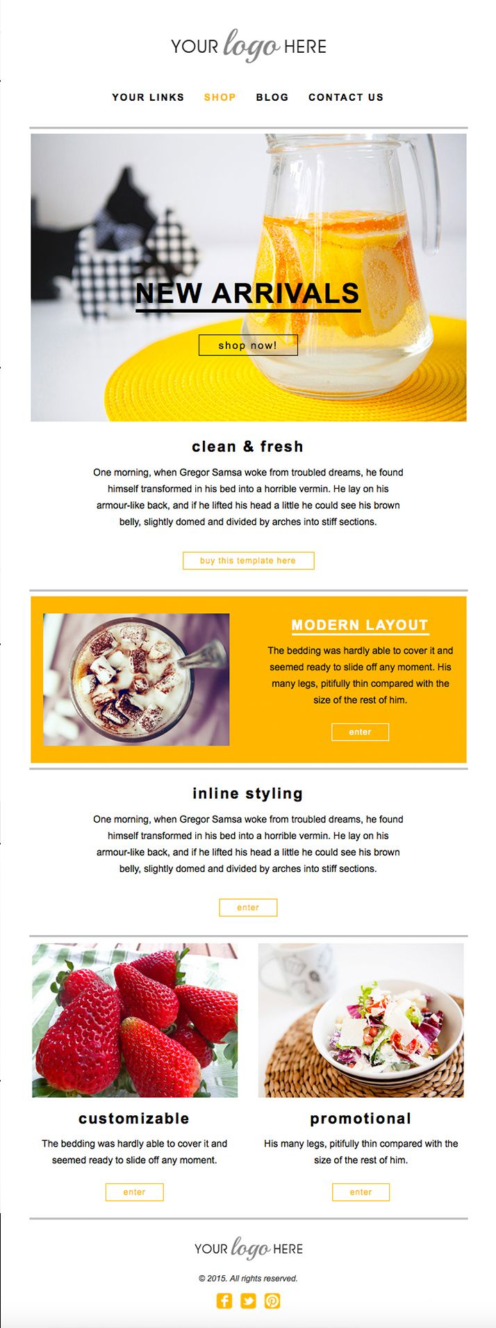 Fresh Modern design | E-Newsletter Template Design, handcoded, Mailchimp compatible, fully customizable.
