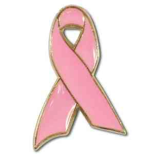 Pink awareness ribbon lapel pin. Breast Cancer is at the forefront of women's issues and  this lapel pin is the standard in recognition for Cancer Walks, Relay for Life events, patients, survivors, families, doctors, nurses, other support staff, benefits, fund-raisers, and memorials. Lapel pin comes standard with a military clutch back.