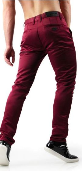 Shiny Satin Burgundy Pants In Slim Fit. If you need statement trousers, go for bold burgundy pants for men  in this season's trendiest shade. Sold on differio.com