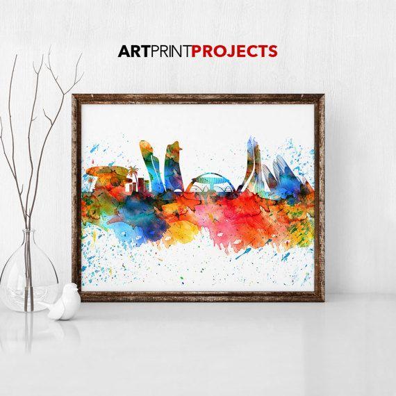 Abu Dhabi  Skyline Print Watercolor Print Wall Art UAE