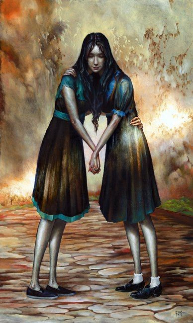 """Esao Andrews - """"Sisters"""" - Oil on panel, 20 x 12 inches."""