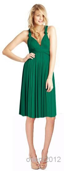 Wholesale -Cheap Many Uses Practicable Grreen DIY Convertible Neckline Bridesmaid Dresses Knee Length Chiffon Bridesmaid Dresses Online with $62.69/Piece on Orient2012's Store   DHgate.com